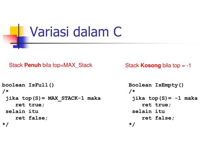 Variasi dalam C