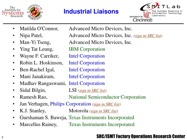 Industrial Liaisons