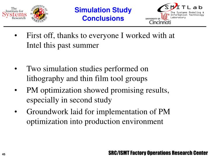 Simulation Study Conclusions