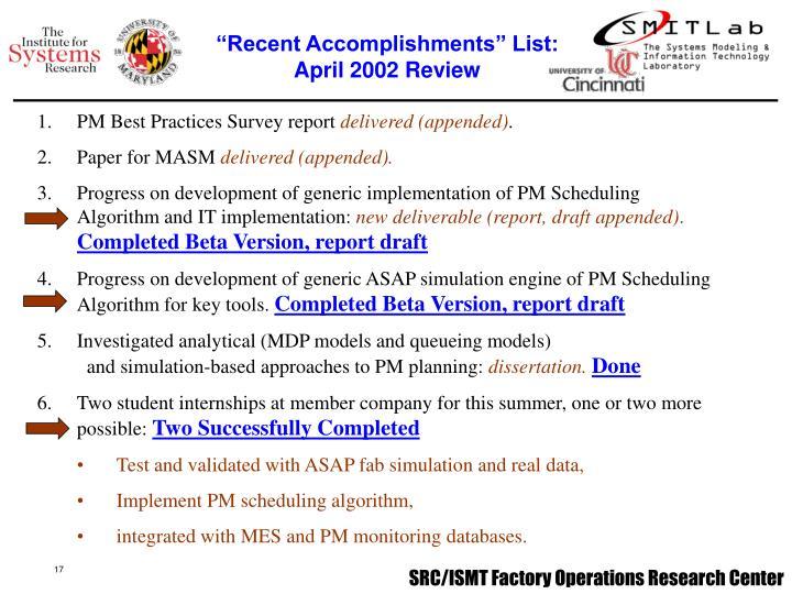 """Recent Accomplishments"" List:"