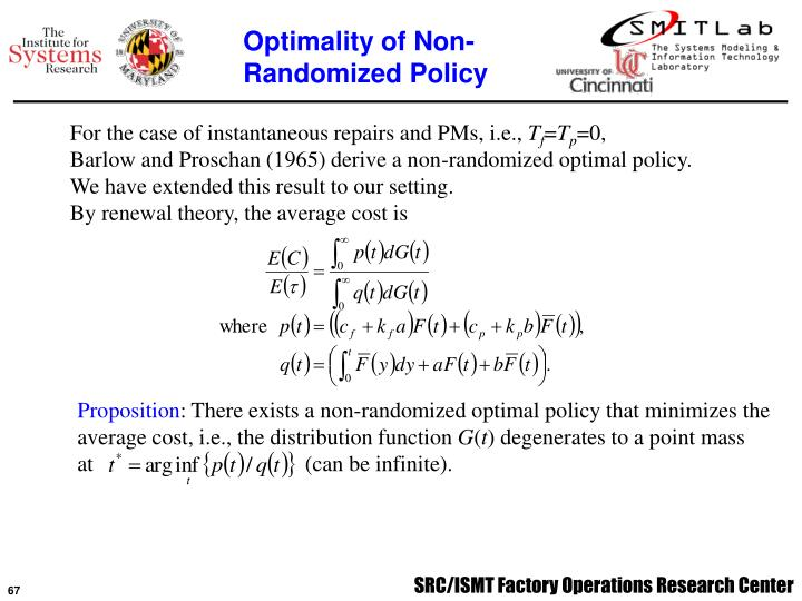 Optimality of Non-Randomized Policy