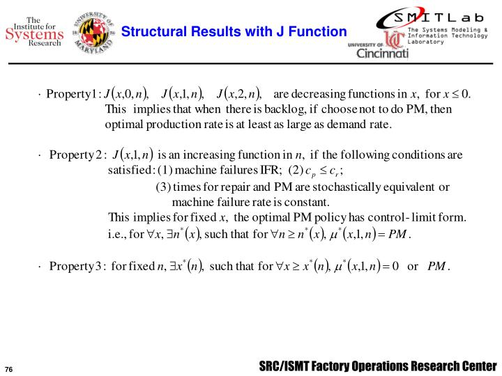 Structural Results with J Function
