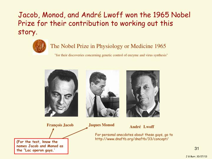 Jacob, Monod, and Andr