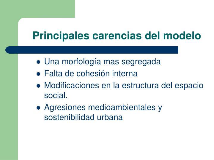 Principales carencias del modelo