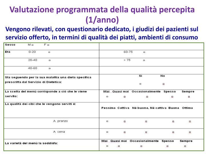 Valutazione programmata della qualità percepita (1/anno)