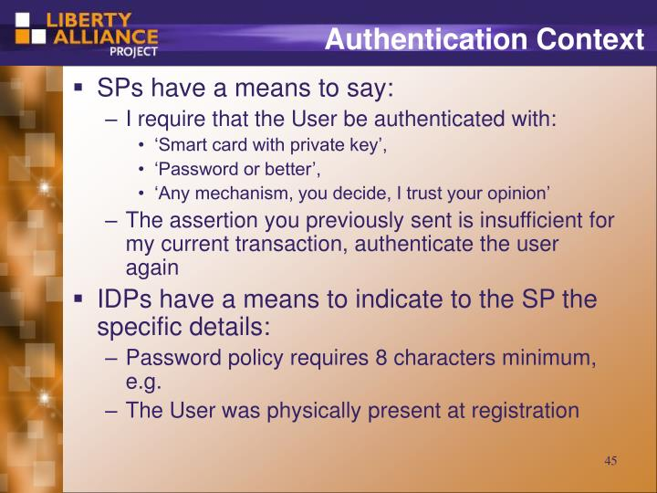 Authentication Context