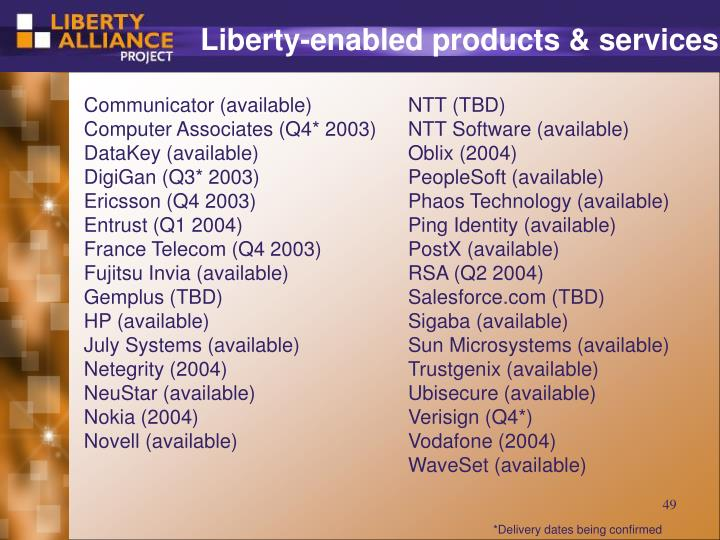 Liberty-enabled products & services
