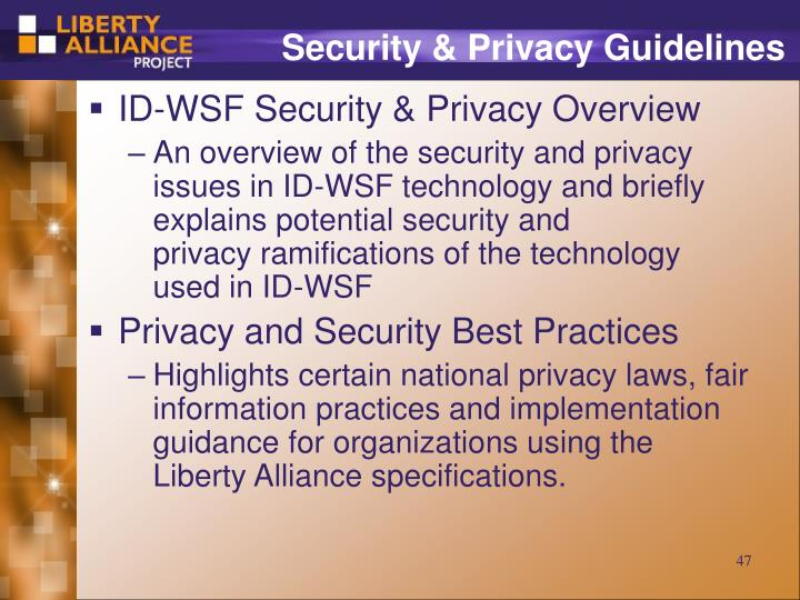 Security & Privacy Guidelines
