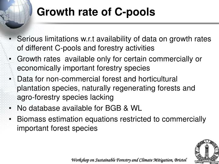 Growth rate of C-pools