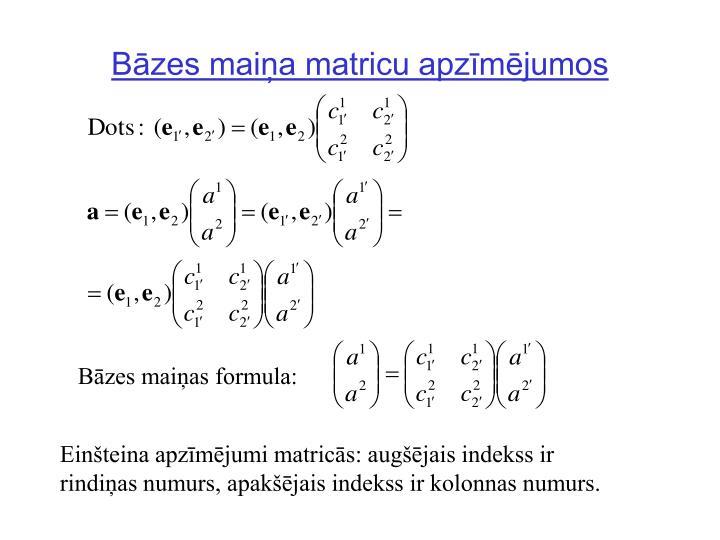 Bāzes maiņa matricu apzīmējumos