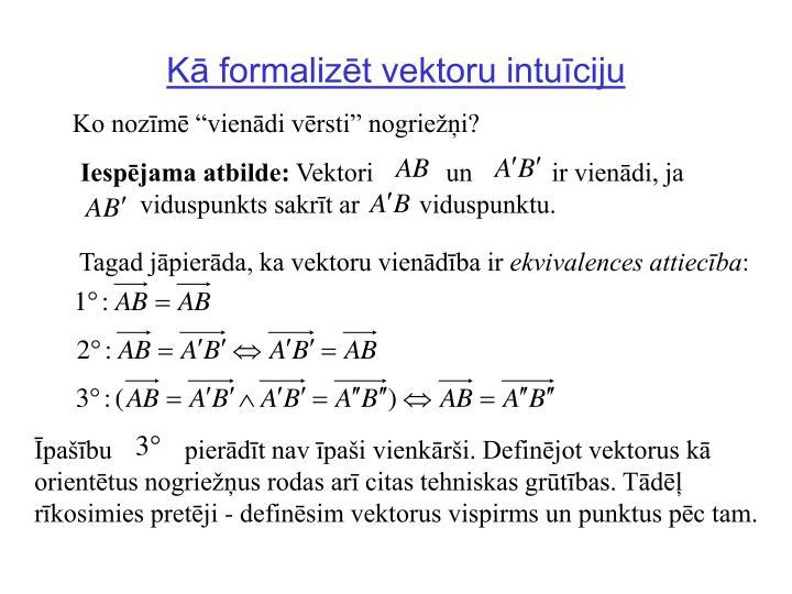 Kā formalizēt vektoru intuīciju