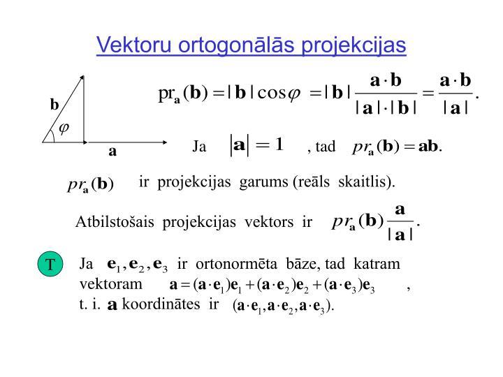 Vektoru ortogonālās projekcijas