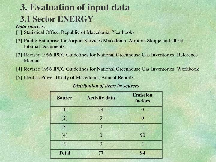 3. Evaluation of input data