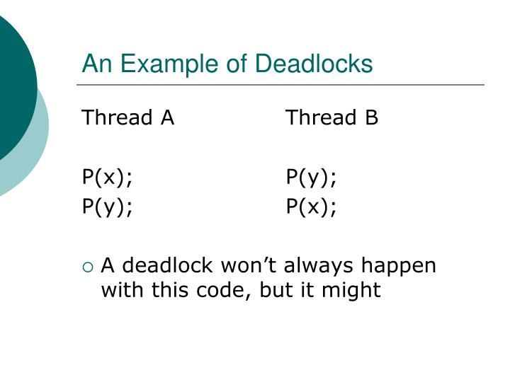 An Example of Deadlocks
