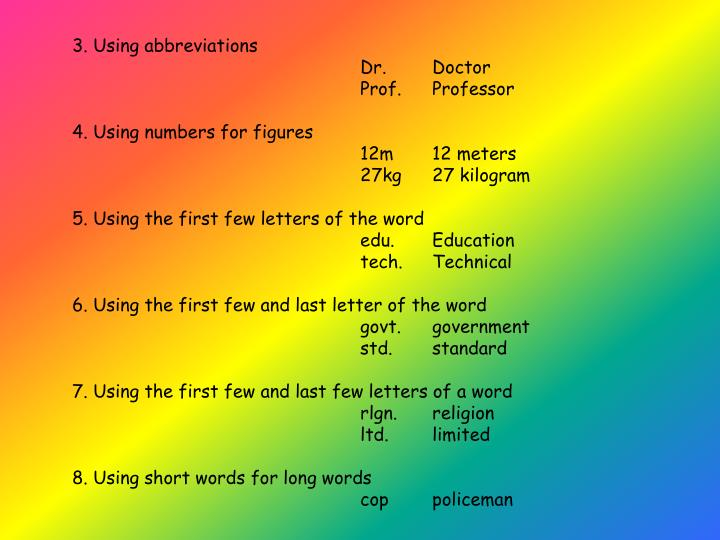 3. Using abbreviations
