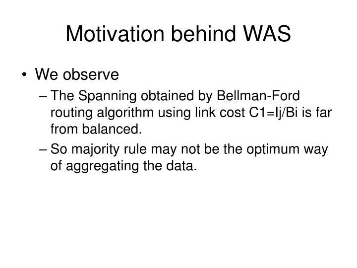 Motivation behind WAS