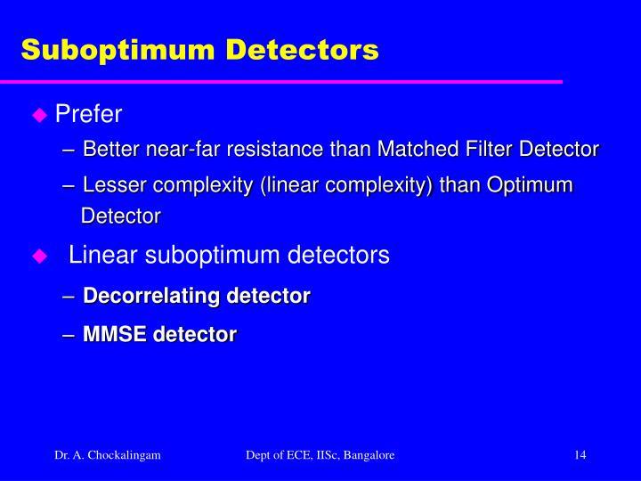 Suboptimum Detectors