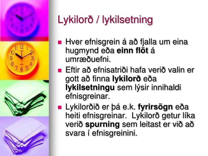 Lykilorð / lykilsetning