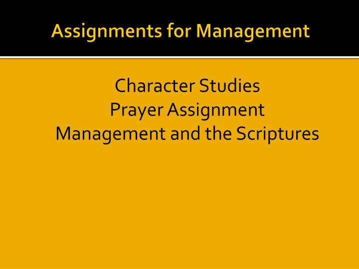 Assignments for Management