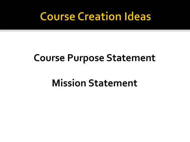 Course Creation Ideas