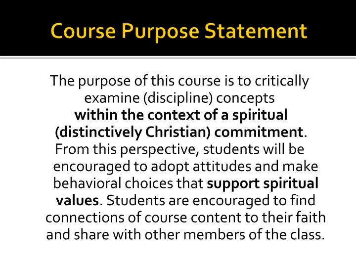 Course Purpose Statement
