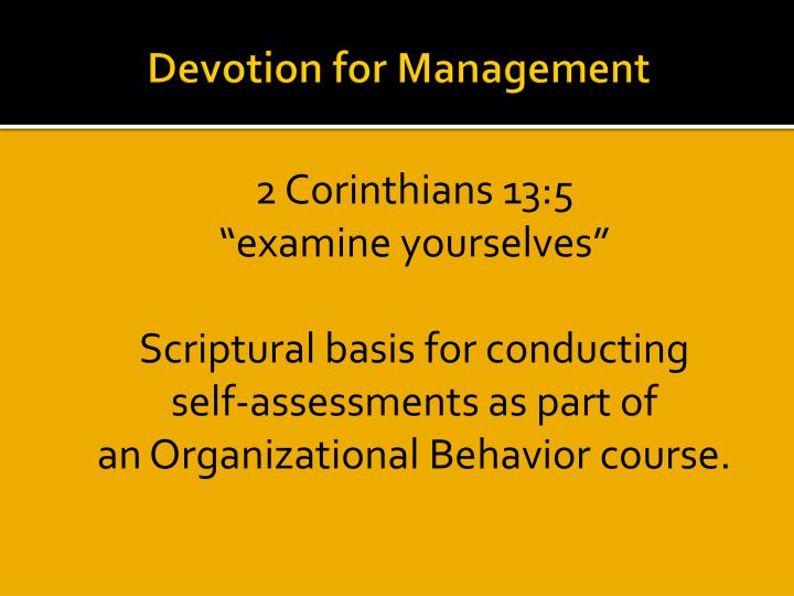 Devotion for Management