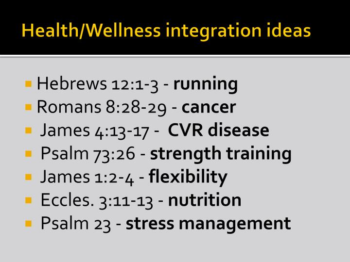 Health/Wellness integration ideas