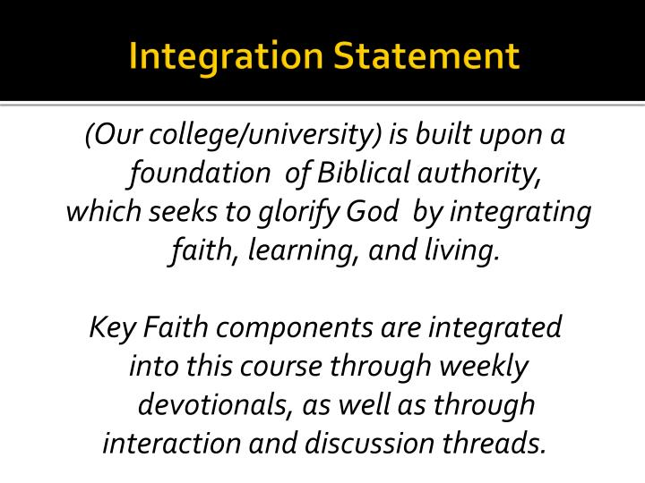 Integration Statement