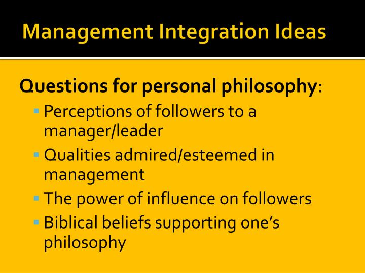 Management Integration Ideas