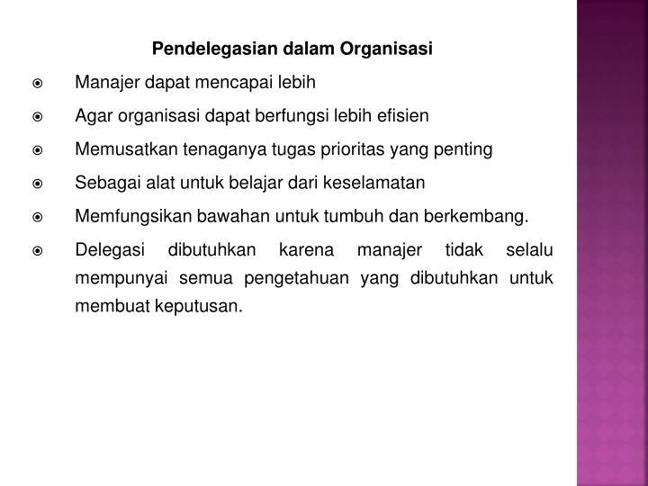 Pendelegasian dalam Organisasi