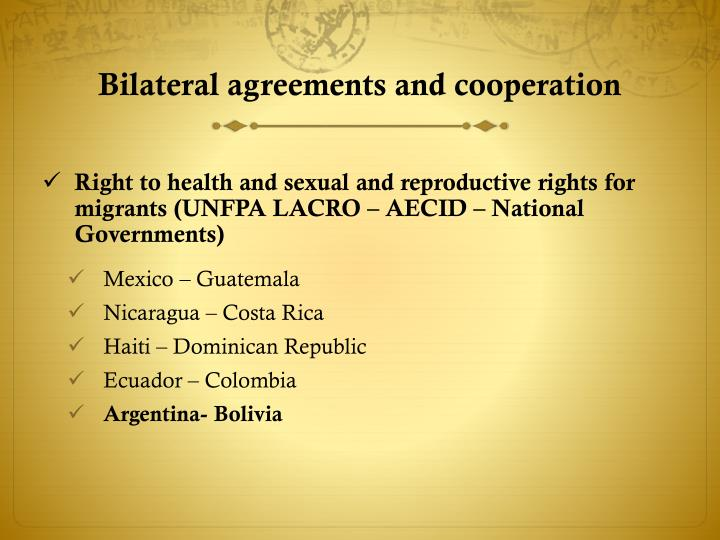 Bilateral agreements and cooperation