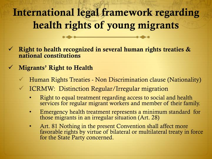 International legal framework regarding health rights of young migrants