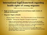 international legal framework regarding health rights of young migrants
