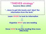 thieves strategy suzanne manz 2002 learn to get into books and steal the information from the texts