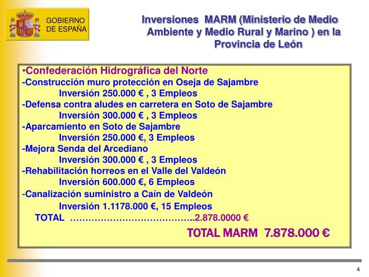 Inversiones  MARM (Ministerio de Medio                 Ambiente y Medio Rural y Marino ) en la   Provincia de León