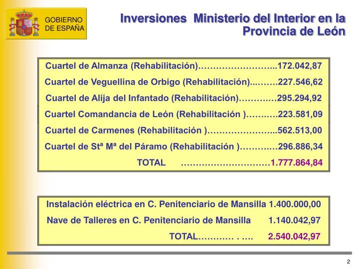 Inversiones  Ministerio del Interior en la Provincia de León
