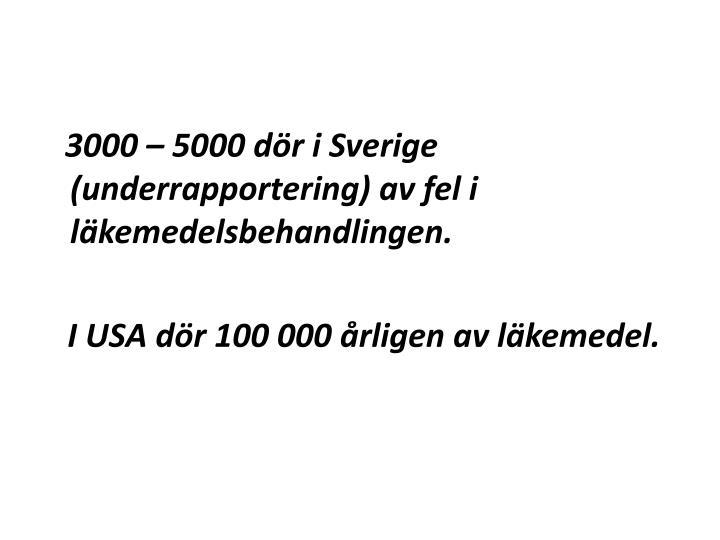 3000 – 5000 dör i Sverige (underrapportering) av fel i läkemedelsbehandlingen.