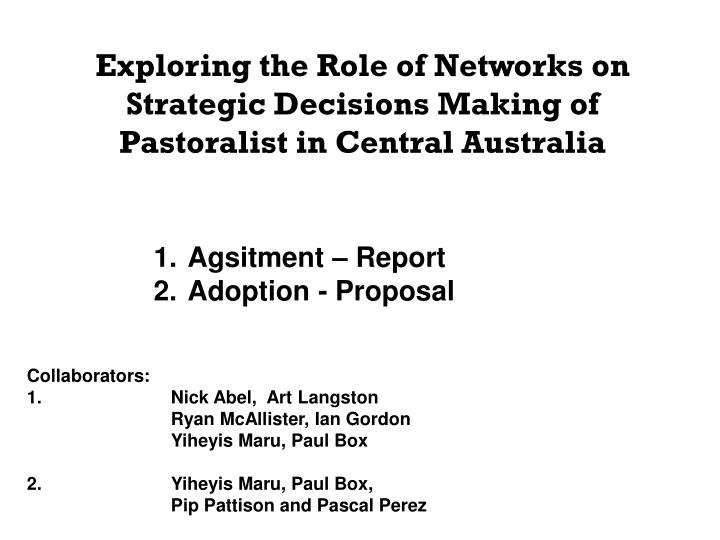Exploring the Role of Networks on Strategic Decisions Making of Pastoralist in Central Australia