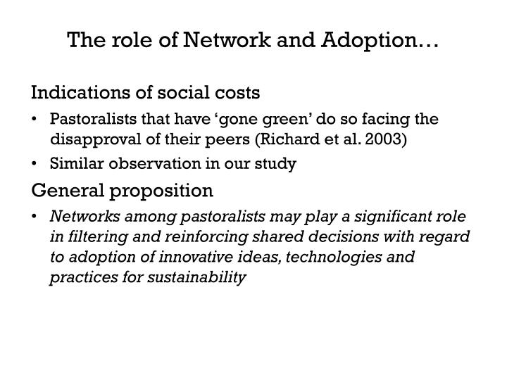 The role of Network and Adoption…