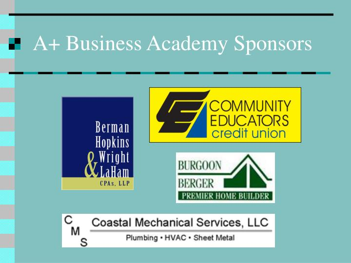 A+ Business Academy Sponsors