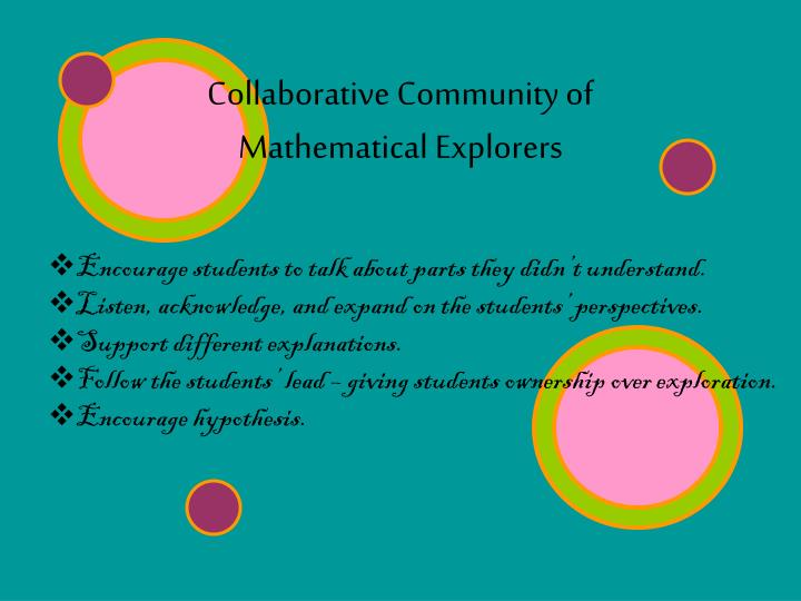 Collaborative Community of Mathematical Explorers