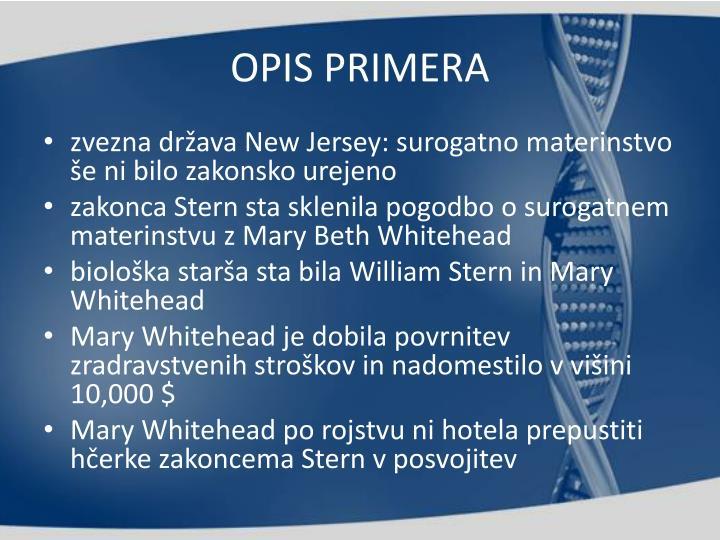 OPIS PRIMERA