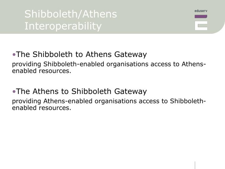Shibboleth/Athens Interoperability