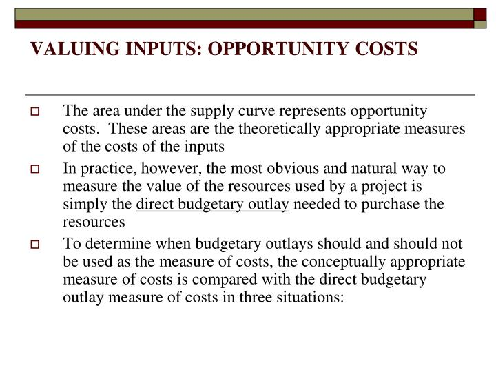 Valuing inputs opportunity costs1