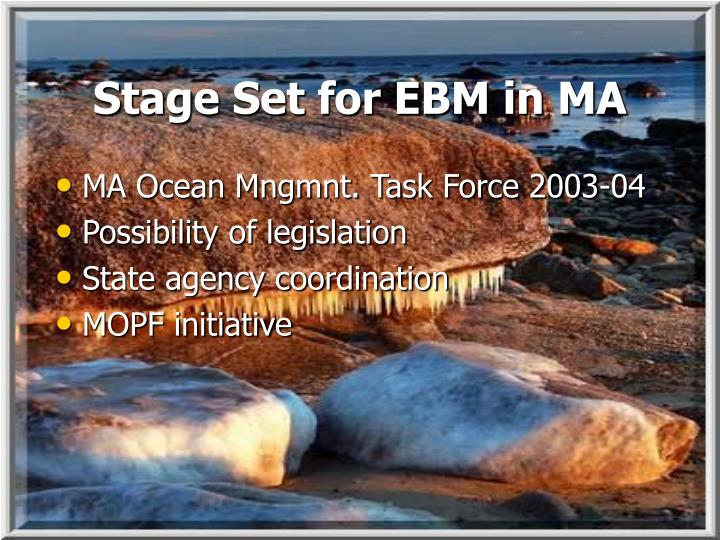 Stage Set for EBM in MA