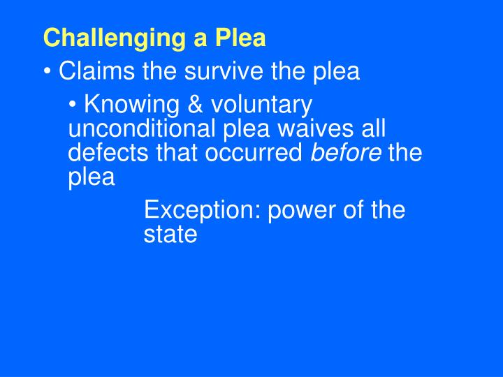 Challenging a Plea