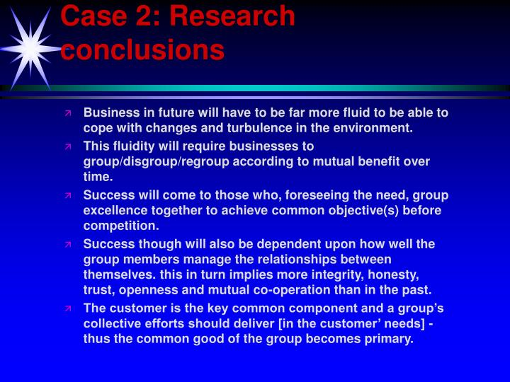 Case 2: Research conclusions