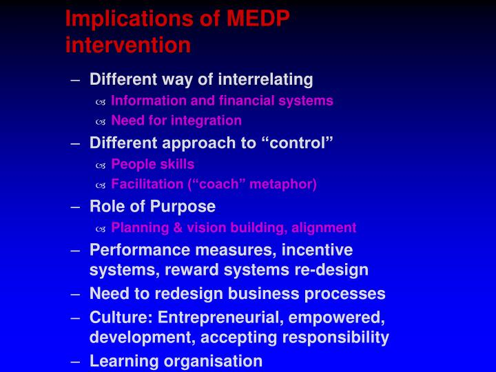 Implications of MEDP intervention