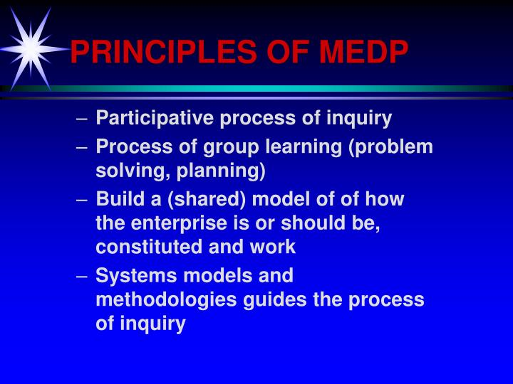 PRINCIPLES OF MEDP