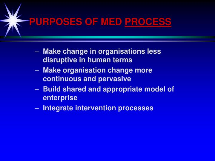 PURPOSES OF MED